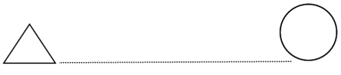 Diagram of a triangle and a circle, with a large gap between them